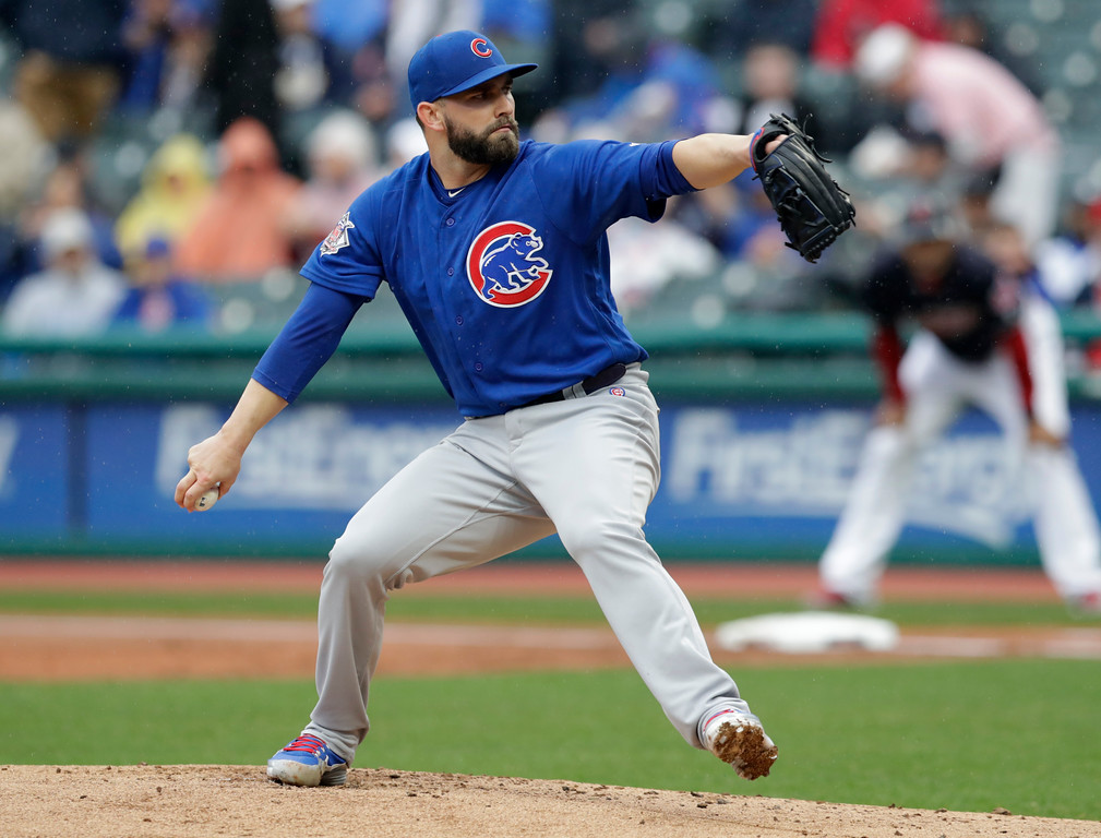 . Chicago Cubs starting pitcher Tyler Chatwood delivers in the first inning of a baseball game against the Cleveland Indians, Tuesday, April 24, 2018, in Cleveland. (AP Photo/Tony Dejak)