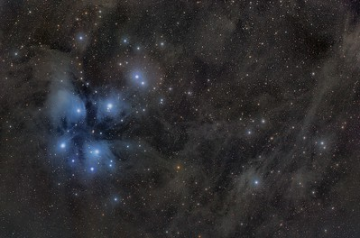 """Pleiades Wieldfield  RA 03h 49m 32s,Dec 24 37' 27"""" Pos Angle 141 07', FL 583.9 mm, 3.18""""/PixeSBIG STL 11000M C1 , Mount: Takahashi EM200 Temma2 , TMB 130/780 with X0,75, M82, Riccardi, Reducer., Baader, 50mm, unmount, Filters, LRGB, 10, x, 600"""" L RGB for stars 8 x 300"""", each, RGB, channel, at15ºC. Pixinsight proceced. February 2013 , Mairena del Aljarafe Sevilla Spain"""