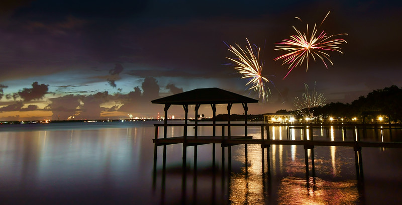 Fireworks along the Indian River Lagoon