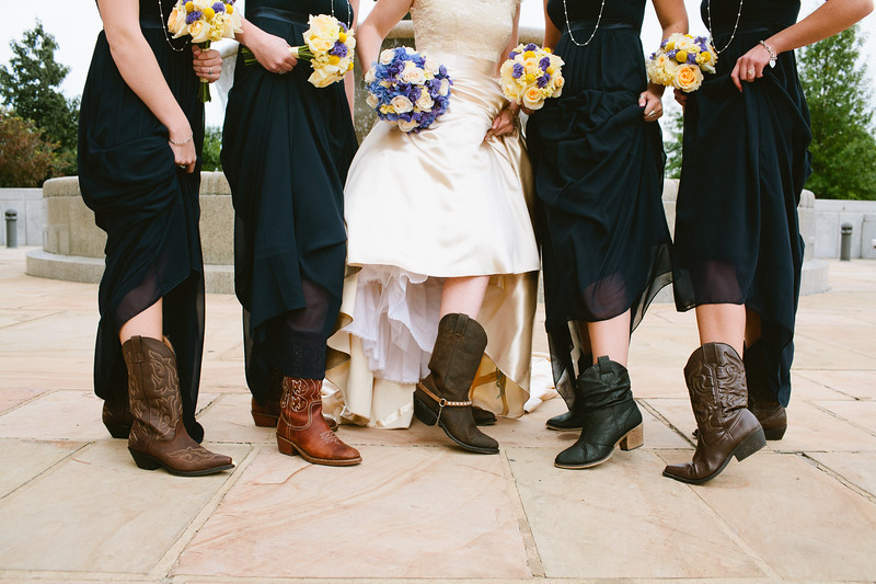 bride and bridesmaids wearing cowboy boots