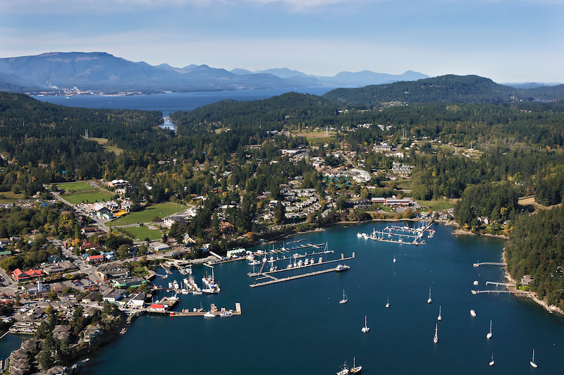 Aerial view of boats in the harbor and buildings dotting the hills of Salt Spring Island.