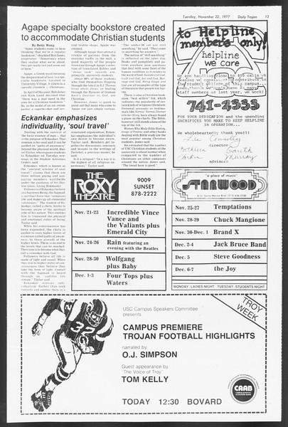Daily Trojan, Vol. 72, No. 45, November 22, 1977