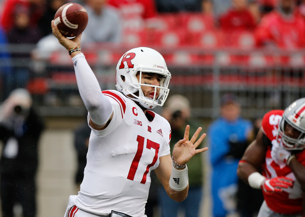 . Rutgers quarterback Giovanni Rescigno throws a pass against Ohio State during the second half of an NCAA college football game Saturday, Sept. 8, 2018, in Columbus, Ohio. Ohio State beat Rutgers 52-3. (AP Photo/Jay LaPrete)