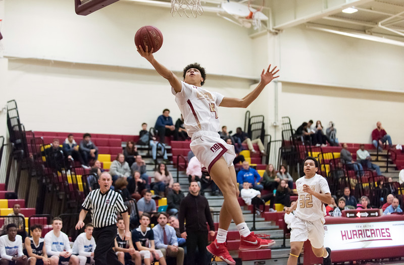 01/08/19  Wesley Bunnell   Staff  New Britain boys basketball defeated Rocky Hill in a home game on Tuesday night. Maurice Turner (4).