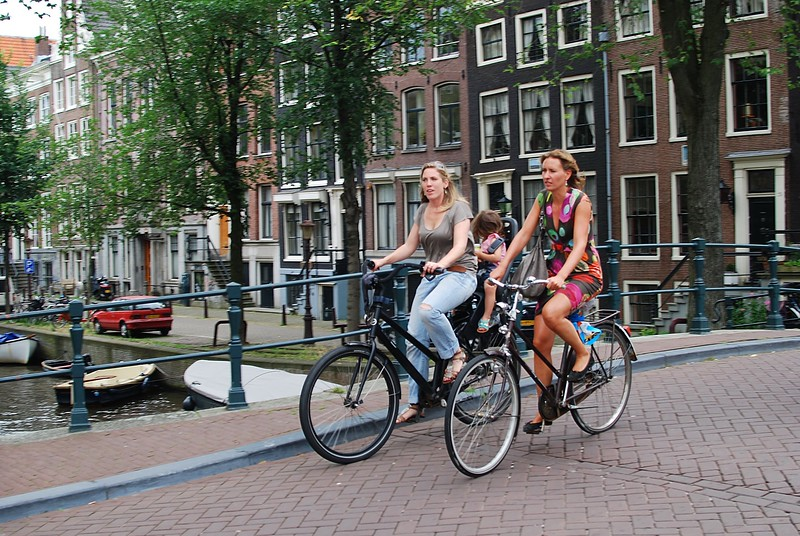 Woman with daughter on bike in Amsterdam