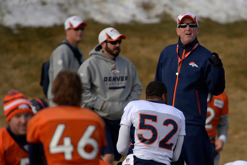 . Head coach John Fox of the Denver Broncos joking with the team during warm ups at practice in Centennial January 10, 2014 Centennial, Colorado. (Photo by Joe Amon/The Denver Post)