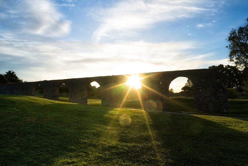 Morning under the aqueduct in Portugal