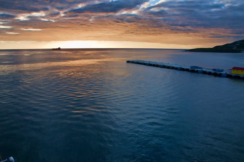St. Maarten sunset as our ship sails away.