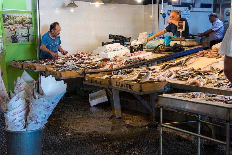 fish vendor in Chania Market