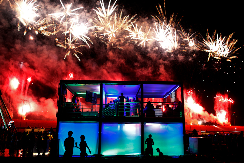 . Fireworks explode over the Las Vegas Motor Speedway during the Electric Daisy Carnival in Las Vegas Saturday, June 22, 2013. (AP Photo/Las Vegas Review-Journal, John Locher)