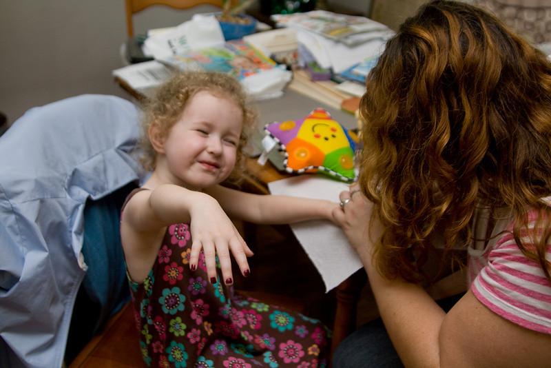 Aunt Jean paints Beverly's nails