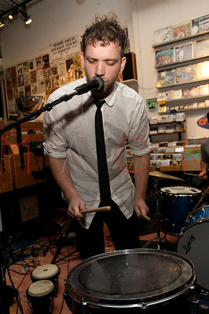 NEW YORK, NY - NOVEMBER 22:  Caveman performs at Other Music on November 22, 2011 in New York City.