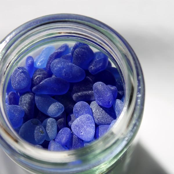 Cobalt Sea Glass in a Jar