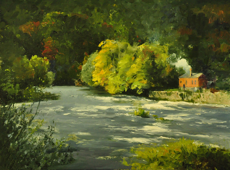 Fall Peek at the River, Oil on Linen, 18x24