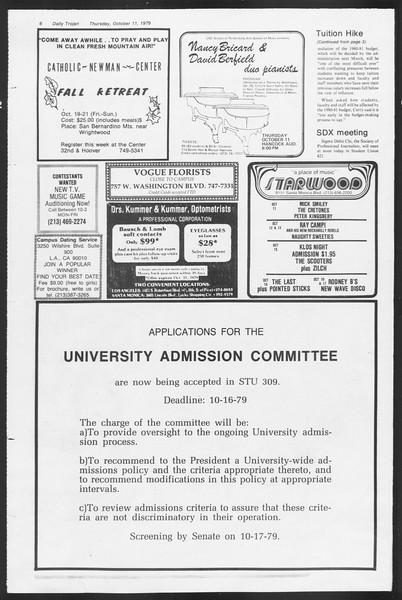 Daily Trojan, Vol. 87, No. 19, October 11, 1979