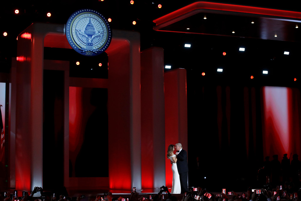 . President Donald Trump dances with first lady Melania Trump at the Liberty Ball, Friday, Jan. 20, 2017, in Washington. (AP Photo/Patrick Semansky)