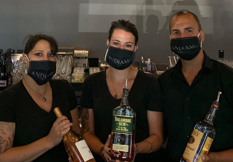 The mixologists — from left, Angie LeVasseur and Ryann McGuire, both of Haverhill, and Kevin Guilherme of Saugus