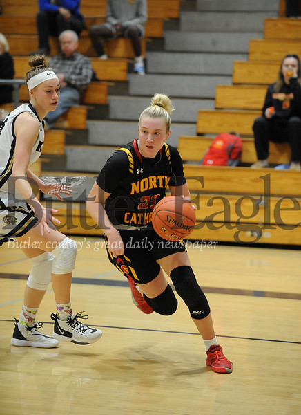North Catholic #23 Tess Myers drives for the basket during a game at Knoch Gym on Monday January 13, 2020 (Jason Swanson photo)