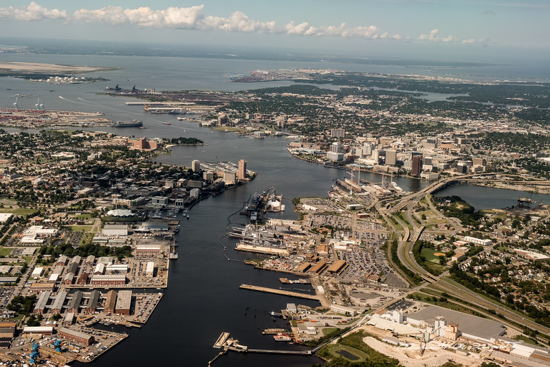 Portsmouth and Norfolk, VA. Severe localized distortion in aircraft window.