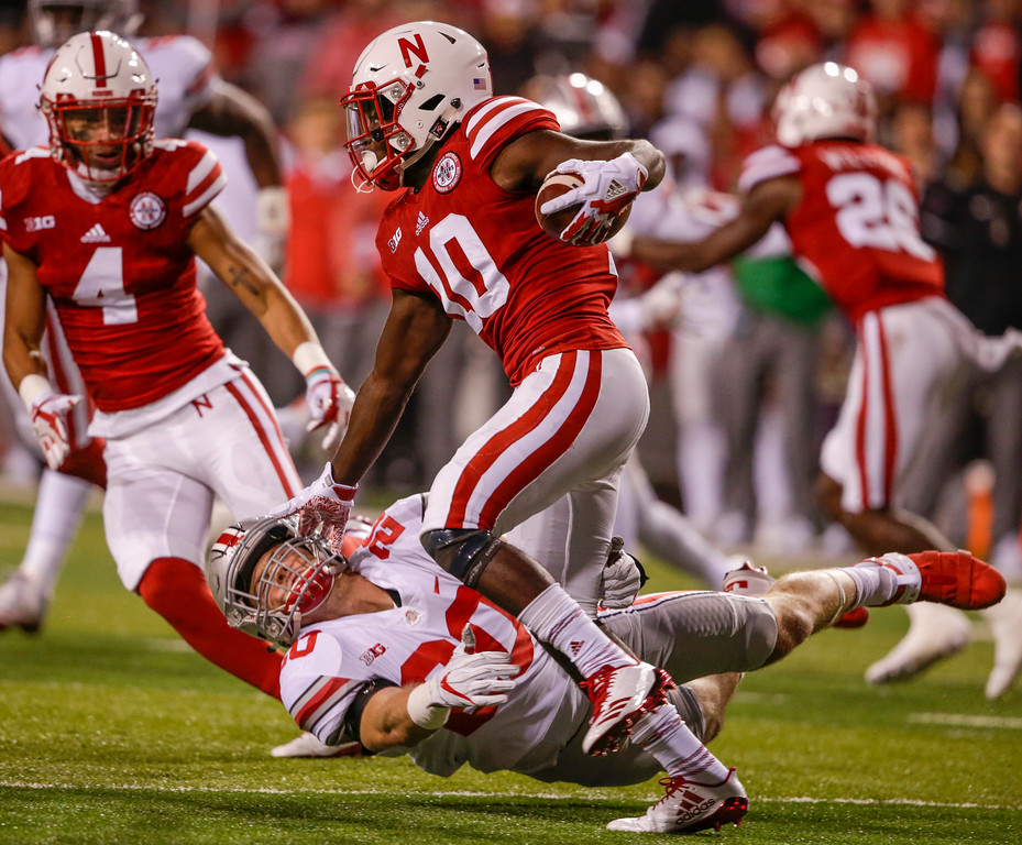 . Nebraska wide receiver JD Spielman (10) carries a kickoff return past Ohio State linebacker Pete Werner (20) during the first half of an NCAA college football game in Lincoln, Neb., Saturday, Oct. 14, 2017. (AP Photo/Nati Harnik)