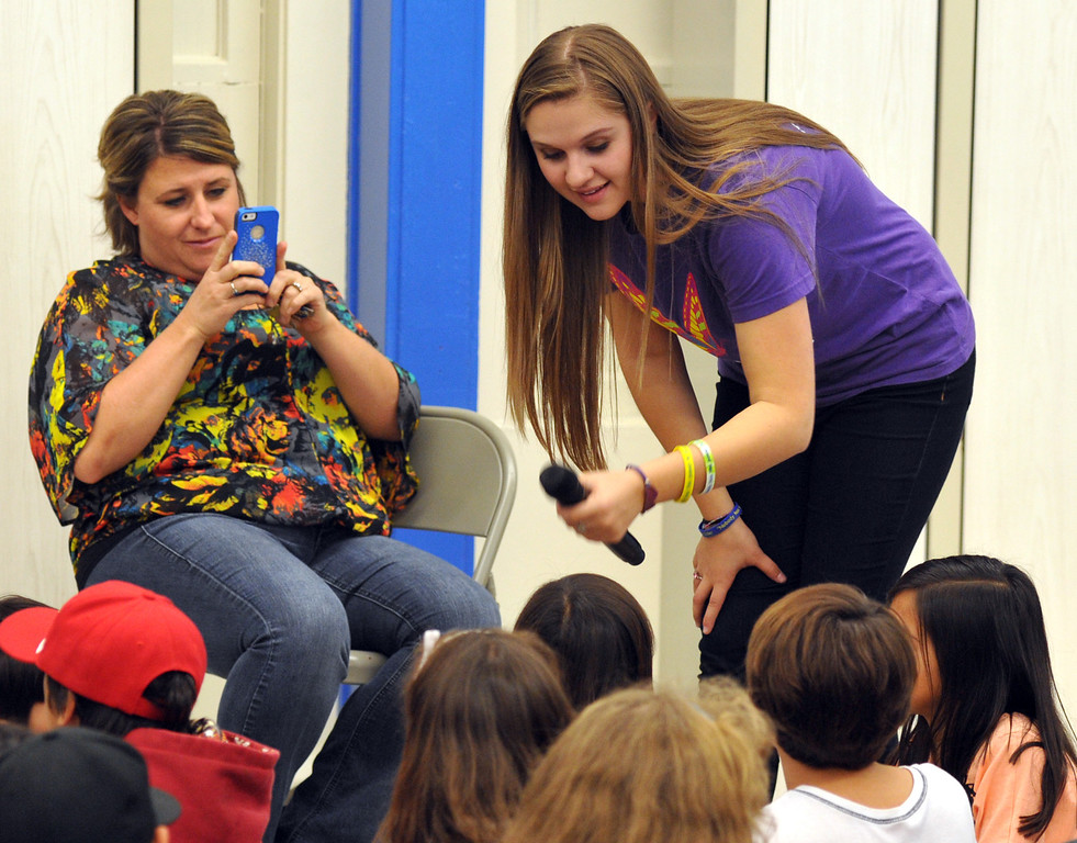 . Country Western singer Lizzie Sider, 15, lets students ask questions during her 80-school California Bully Prevention Tour for students at Ocean View Elementary School in Whittier on Monday November 4, 2013. (Whittier Daily News/Staff Photo by Keith Durflinger)