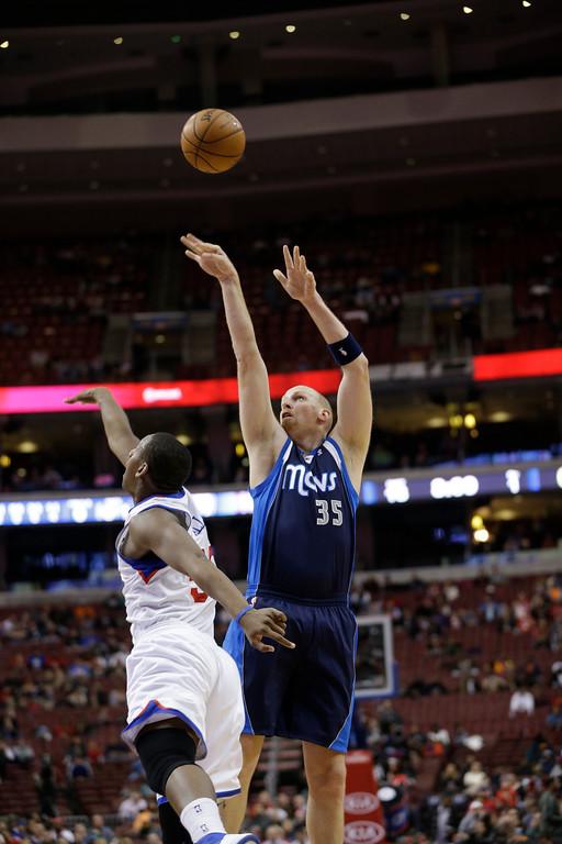 . Dallas Mavericks\' Chris Kaman in action during an NBA basketball game against the Philadelphia 76ers, Tuesday, Nov. 27, 2012, in Philadelphia. (AP Photo/Matt Slocum)