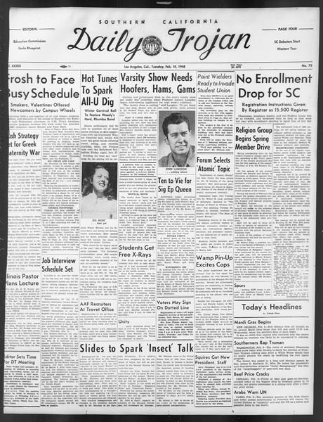 Daily Trojan, Vol. 39, No. 75, February 10, 1948