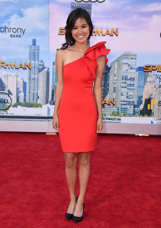 """. Tiffany Espensen arrives at the Los Angeles premiere of \""""Spider-Man: Homecoming\"""" at the TCL Chinese Theatre on Wednesday, June 28, 2017. (Photo by Jordan Strauss/Invision/AP)"""