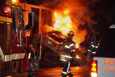 Roslyn F.D. MVA w/ Car Fire Glen Cove Rd. near Harbor Hill Rd. 8/23/10