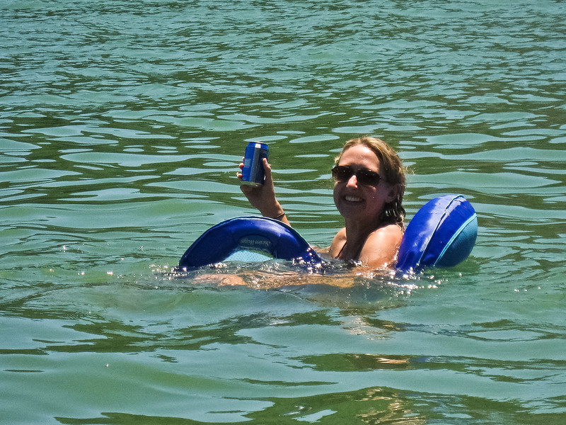 Adrienne takes a dip