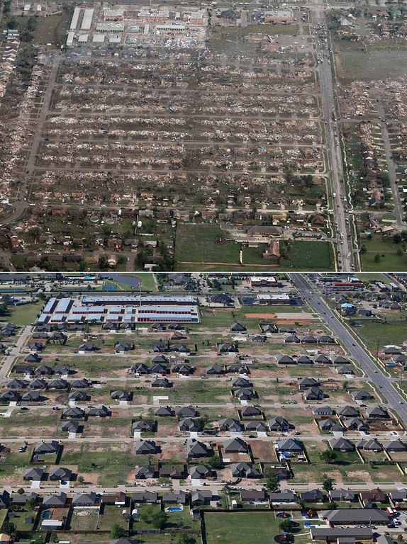 . This combination of aerial photos shows the damage to homes and businesses on May 21, 2013, the day after a massive tornado hit Moore, Okla., top, and the same neighborhood under reconstruction on May 15, 2014, bottom. (AP Photo)