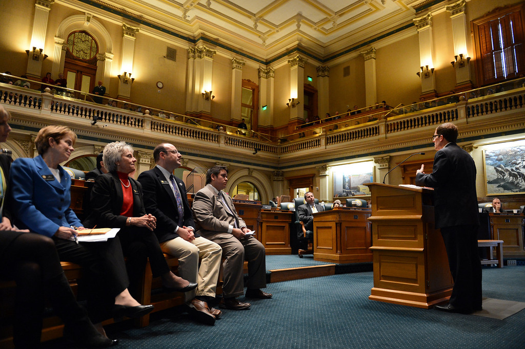 . House Speaker Mark Ferrandino, D-Denver, right, addresses the house before a vote on civil union at the state capitol in Denver, CO March 12, 2013. (Photo By Craig F. Walker/The Denver Post)