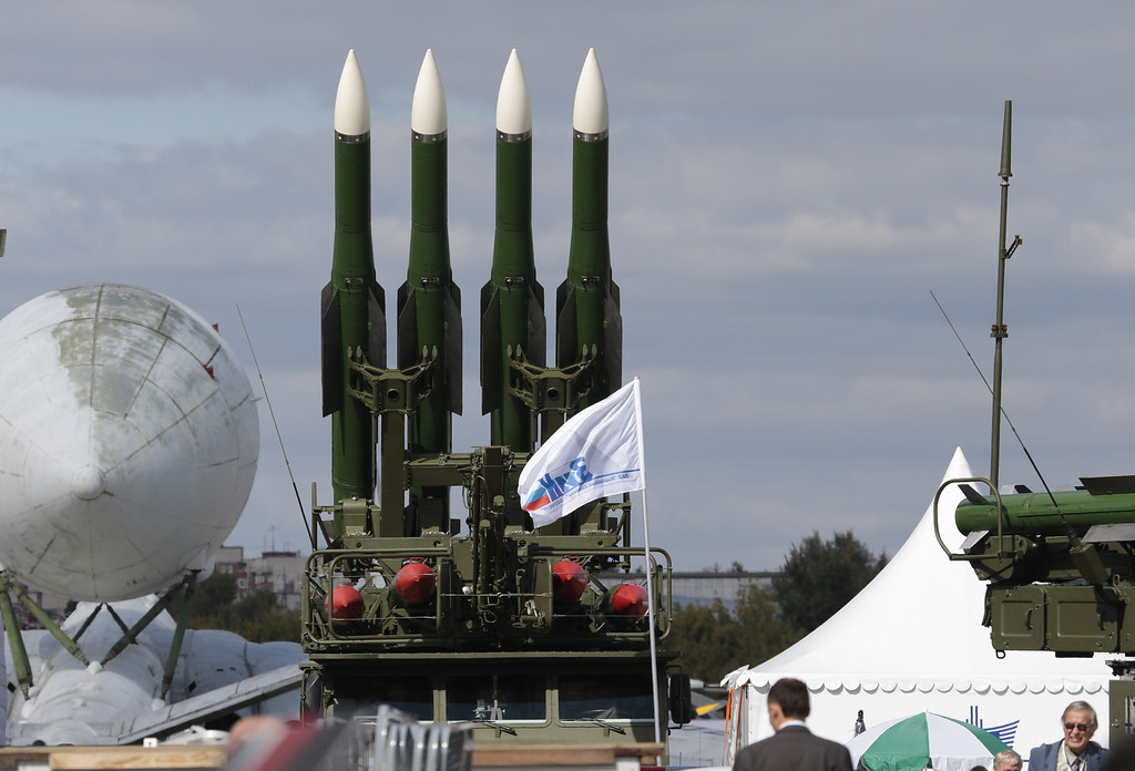 . Russian air defense missile system  Buk-M2 is on display at the opening of the MAKS Air Show in Zhukovsky outside Moscow on Tuesday, Aug. 27, 2013. Russia has supplied similar missiles to Syria. (AP Photo/Ivan Sekretarev)