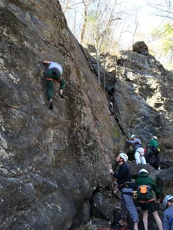 "Rock Climbers Climb ""Rumney Rocks"""