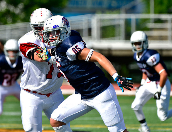 6/29/2019 Mike Orazzi | Staff Constitution All-Star Ryan Rodriguez (85) of Bristol Central High School during Saturday's Super 100 football game at Veterans Stadium in New Britain.