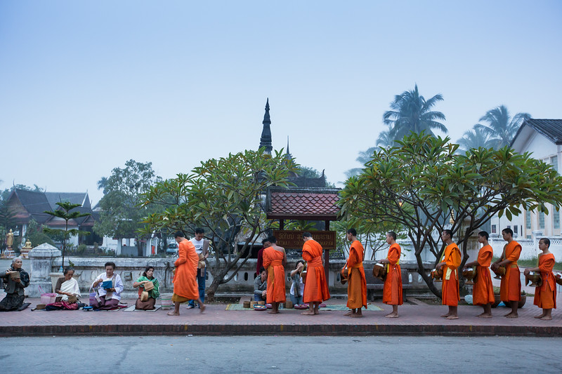 Morning ritual of the monks in Luang Prabang