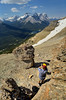 Scenes from an ascent of Mount Bosworth near the giants of the Continental Divide. Banff National Park, Alberta, Canada.