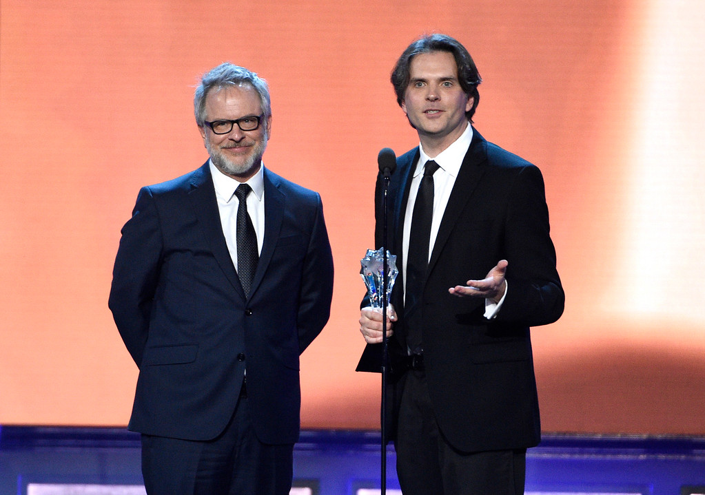 """. Rich Moore, left, and Byron Howard accept the award for best animated feature for \""""Zootopia\"""" at the 22nd annual Critics\' Choice Awards at the Barker Hangar on Sunday, Dec. 11, 2016, in Santa Monica, Calif. (Photo by Chris Pizzello/Invision/AP)"""