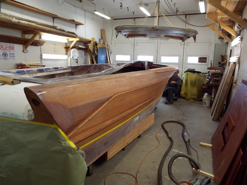 Rear starboard view of the top plank epoxied and sanded.