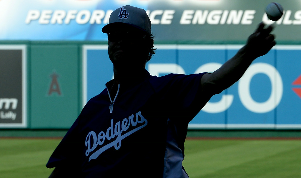 . Los Angeles Dodgers manager Don Mattingly warms-ups prior to a baseball game against the Los Angeles Angels at Anaheim Stadium in Anaheim, Calif., on Thursday, Aug. 7, 2014.  (Photo by Keith Birmingham/ Pasadena Star-News)