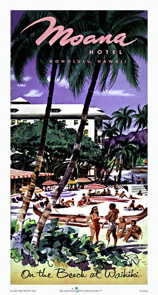 108: On The Beach At Waikiki  Moana Hotel Brochure. Ca. 1949.