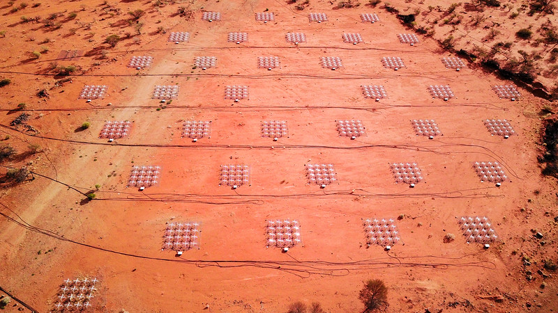 The Murchison Widefield Array (MWA) is a low frequency radio telescope and is the first of four Square Kilometre Array (SKA) precursors to be completed. Credit: ICRAR / Curtin University
