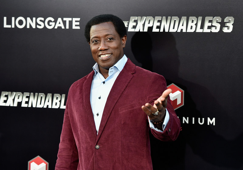 ". Actor Wesley Snipes attends Lionsgate Films\' ""The Expendables 3\"" premiere at TCL Chinese Theatre on August 11, 2014 in Hollywood, California.  (Photo by Frazer Harrison/Getty Images)"