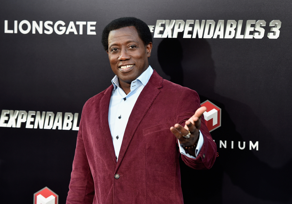 """. Actor Wesley Snipes attends Lionsgate Films\' \""""The Expendables 3\"""" premiere at TCL Chinese Theatre on August 11, 2014 in Hollywood, California.  (Photo by Frazer Harrison/Getty Images)"""