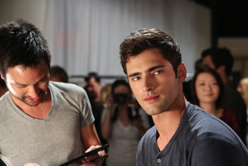 NEW YORK, NY - SEPTEMBER 07:  Model Sean O'Pry prepares backstage at the Billy Reid spring 2013 fashion show during Mercedes-Benz Fashion Week at Eyebeam on September 7, 2012 in New York City.  (Photo by Chelsea Lauren/Getty Images)