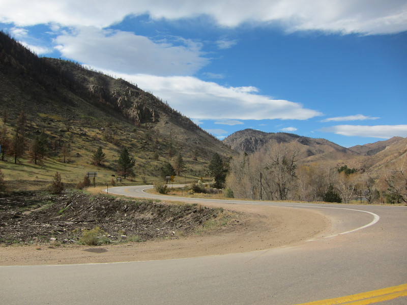 I arrive at the Poudre Canyon where I actually begin riding west.