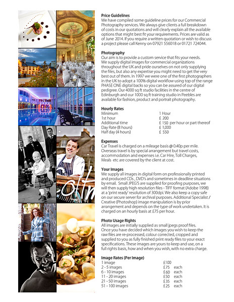 Commercial Price List - kennethmartinphotography
