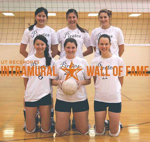 VOLLEYBALL Women's A Champion Fall 2007  PIRATES  R1: Kat Choi, Trisha Fuller, Kelli Benham  R2: Laura Choi, Patty Moreno, Kristin Wheaton