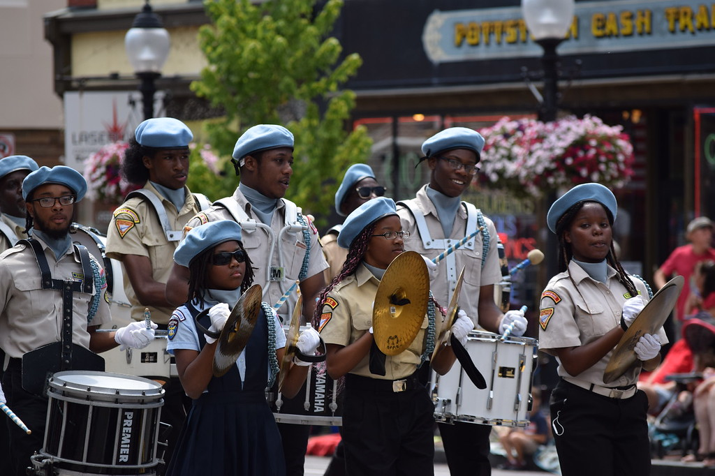 . NAACP band members keep bystanders tapping their toes as they parade down High Street Tuesday. The band was one of several that performed during the Pottstown GoFourth! Festival on Tuesday. --Marian Dennis, Digital First Media