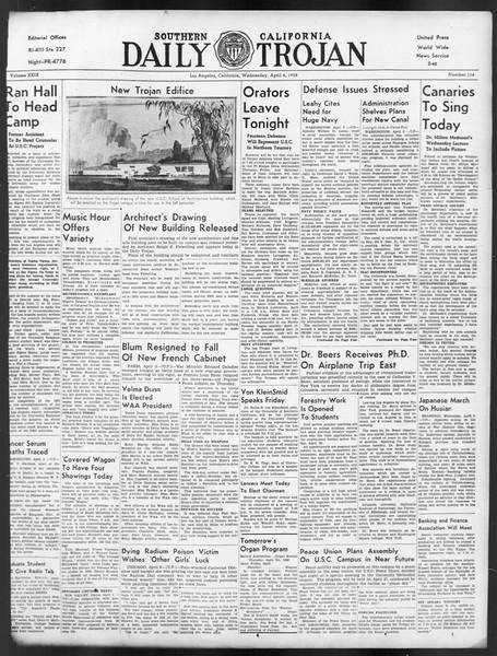 Daily Trojan, Vol. 29, No. 114, April 06, 1938